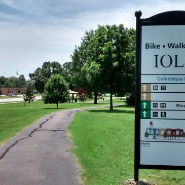 New Prairie Spirit Trail Signs in Iola