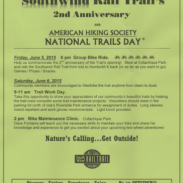 Southwind Rail Trail 2nd Anniversary Celebration June 5-6 in Iola