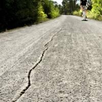Drought causing cracks in Prairie Spirit Trail